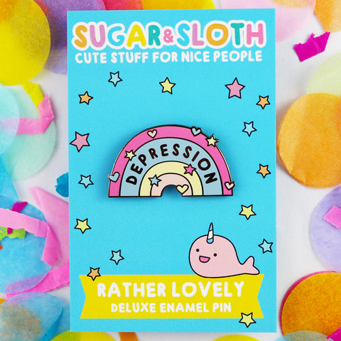 depression awareness pin enamel pins sugar & sloth uk pin kawaii cute badge