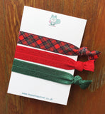 Christmas elastic handmade hair tie ties elastics bands cute kawaii uk gift gifts tartan glitter tree red and green stocking filler