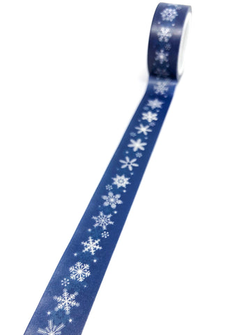 uk festive cute washi tapes 5m dark blue snowflake snowflakes stationery planner supplies christmas