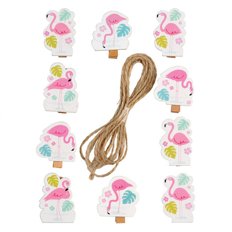 wooden flamingo bay peg pegs set of 10 twine string flamingos pink cute clips clip uk gifts