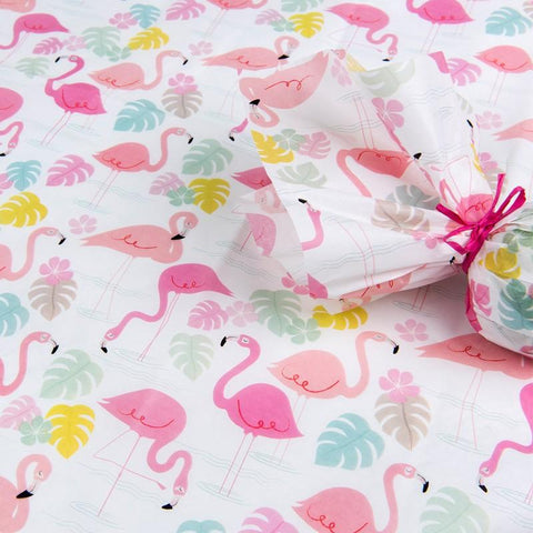 cute pink flamingo bay tissue paper pack of 10 sheets rex london uk packaging supplies kawaii flamingos packing wrap papers