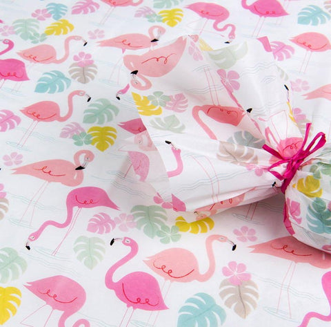 tropical flamingo bay tissue paper rex london uk cute kawaii wrap wrapping papers packaging pink flamingos