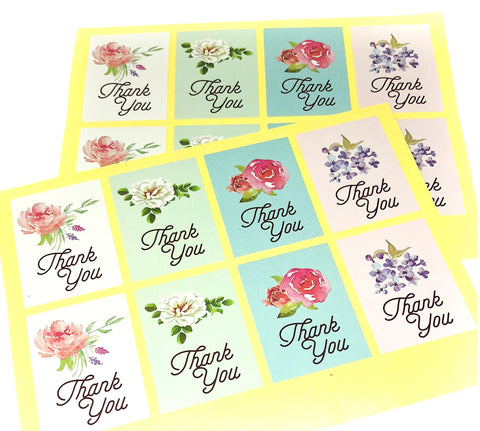 floral flower thank you rectangular stickers large sticker sheet