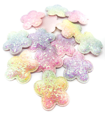 Ab glitter flower fabric sew on glue patch applique glittery flowers appliques