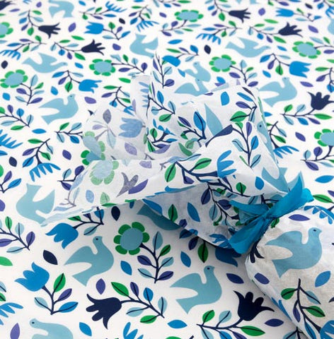 retro vintage dove bird birds tissue paper rex london blue and green floral pretty wrap wrapping papers uk cute kawaii packaging