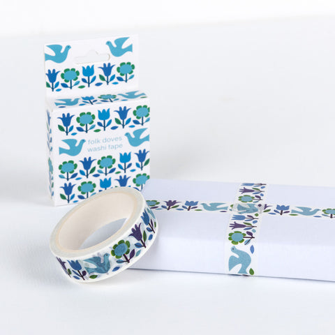 retro dove floral bird blue green turquoise boxed washi tape 7m tapes uk cute stationery packaging supplies