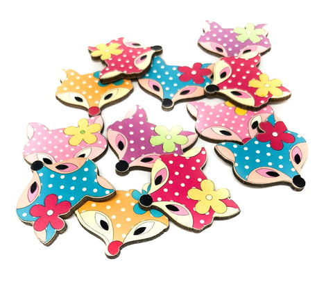 fox foxes wooden flatbacks fb fbs embellishments polka dot faces wood
