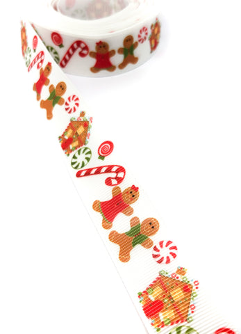 gingerbread man lady christmas grosgrain 22mm ribbon festive ribbons men