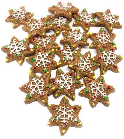 snowflake cookie gingerbread resin fb flatback 21mm snowflakes christmas