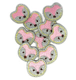 fox foxes silver iron on fabric applique patch patches 31mm