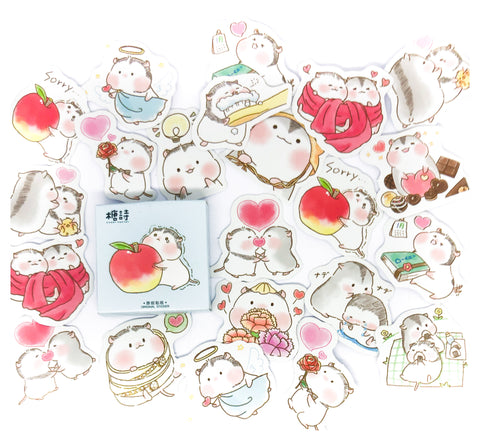 apple hamster cute cuddle hamsters mini sticker flake box of 45 stickers flakes