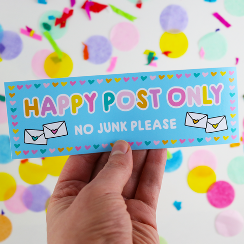 happy post only no junk please mail letter box vinyl sticker cute kawaii stickers uk stationery vinyls sugar and sloth