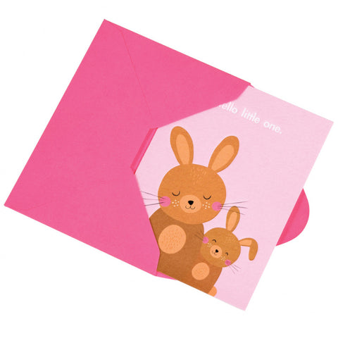pink bunny bunnies hello little one baby arrival birth card cards pink cute kawaii cards uk