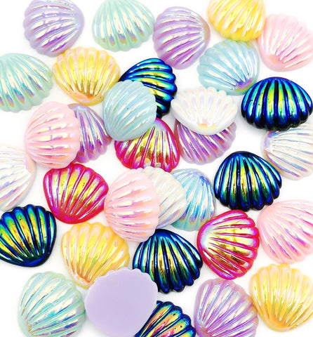 resin iridescent shell shells ab flatback fb fbs cabochons uk cute craft supplies