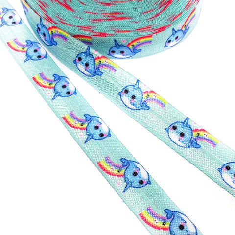 narwhal narwhals elastic ribbon cute kawaii fold over elastics foe uk craft supplies cute kawaii turquoise blue
