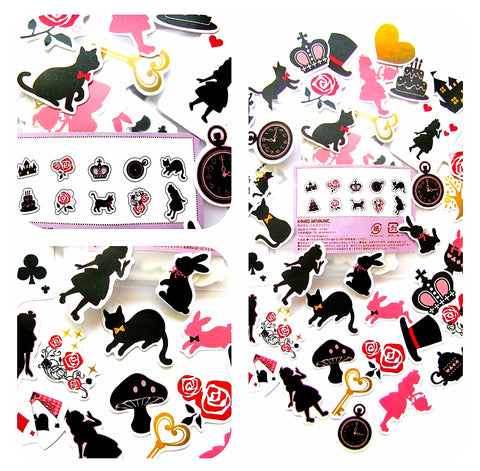 alice in wonderland opaque sticker stickers pack of 40 silhouette black pink red planner