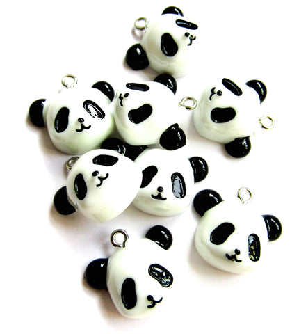 20mm resin panda face charm pandas charms