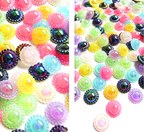 pearl pearly resin 12mm fb fbs flat backs round bead edge