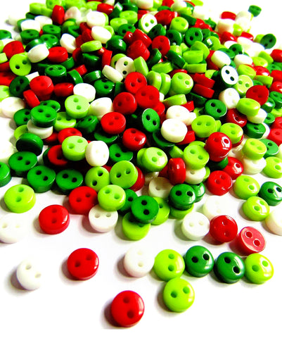6mm festive small tiny acrylic buttons set of 50 green white red