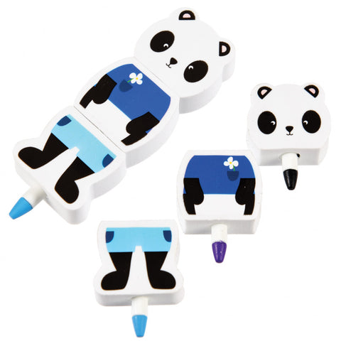 stackable crayons and eraser panda crayon pandas kawaii cute gift gifts colouring children kids uk stationery
