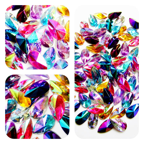 teardrop sparkly acrylic fb teardrops ab 12mm flat backs