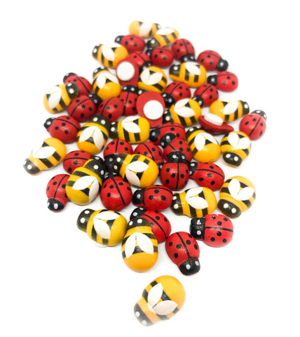 bee and ladybird stick on wood wooden fb flat backs 13mm