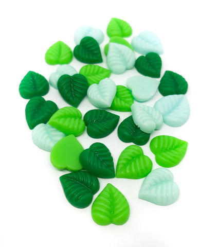 13mm green resin leaf leaves flat backs fbs leaves
