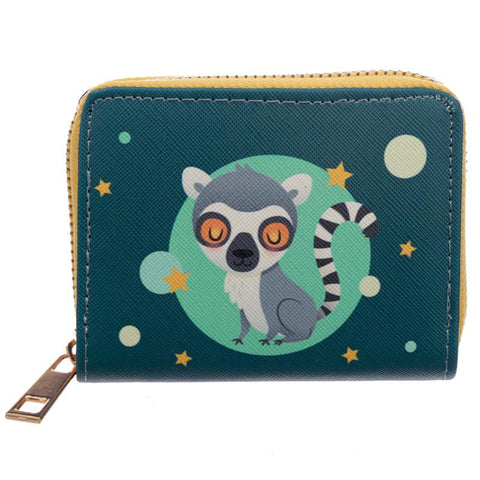 lemur cute baby lemurs zip wallet purse purses coin wallets turquoise teal green kawaii uk gift gifts stocking fillers