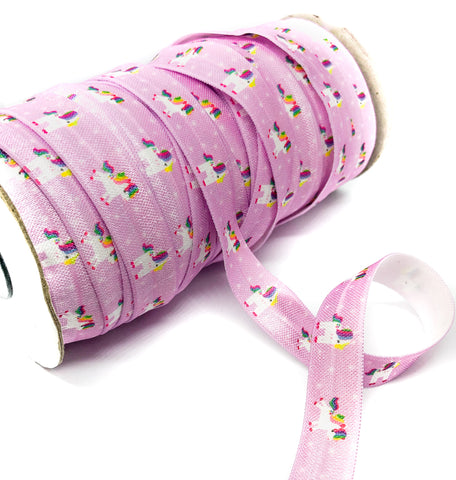 pink lilac unicorn elastic 15mm wide ribbon one yard foe unicorns