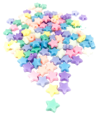 9mm pastel acrylic star beads stars bead kawaii set of 25