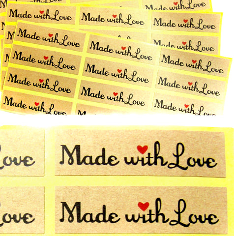 made with love heart kraft brown rectangular stickers sheet of 10 uk craft supplies packaging materials sticker shop stationery store