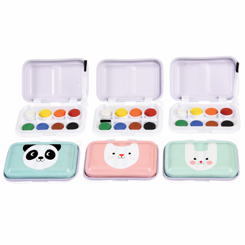 mini watercolour kids child's painting paint set tin bunny panda cat kawaii gifts uk rex london