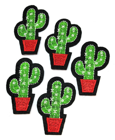 green cacti cactus in red plant pot iron on applique patch uk craft supplies