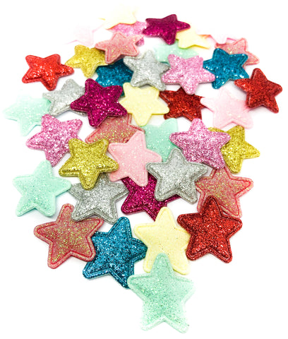 small glitter star applique patch 26mm iridescent stars patches