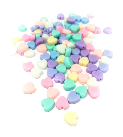 pastel heart acrylic beads kawaii bead 9mm set of 30