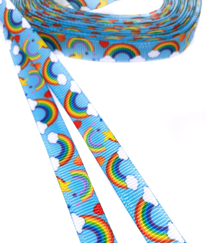 narrow 10mm blue sky clouds and rainbow grosgrain ribbon