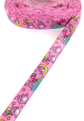 pink narwhal unicorn whale 15mm elastic ribbon yard narwhals ribbon