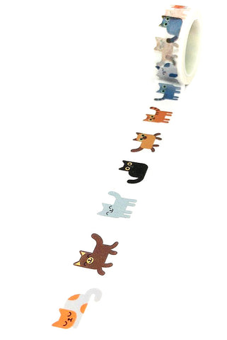 cat cats 5m roll washi tape 15mm wide cute kawaii uk planner tapes