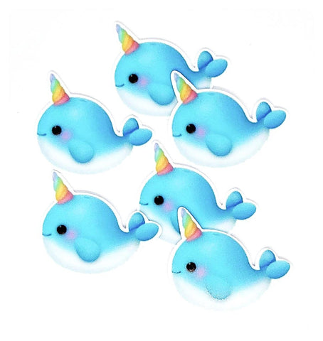 light blue narwhal unicorn whale narwhals cute kawaii planar resin fb flat back flatback uk craft supplies