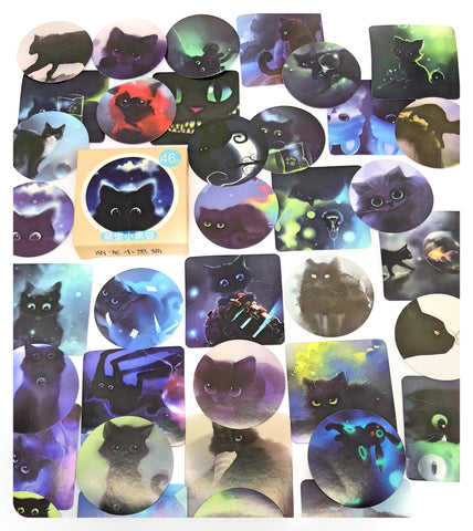 night time cat cats mini sticker flakes box 46 stickers flake