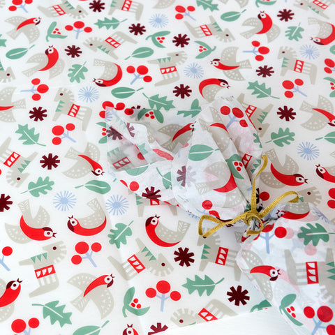 scandi nordic christmas festive tissue paper pack of 10 large sheets uk wrap wrapping bird holly leaves red and green