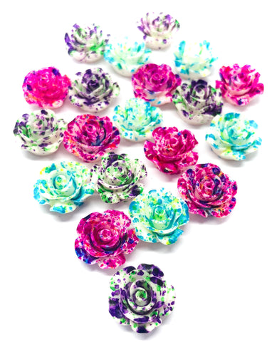 paint spatter ombre 15mm resin flower flowers fb flat backs
