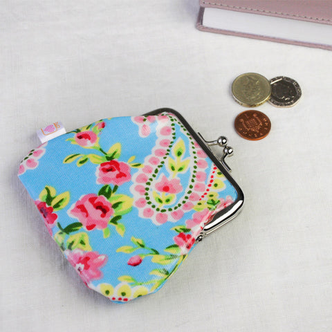 floral pvc purse click snap shut pretty flowers shabby chic purses uk cute gifts pocket girls