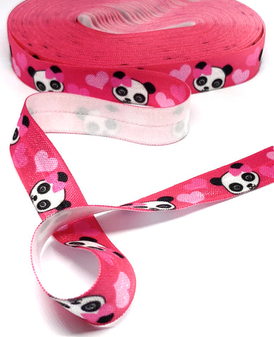 cerise and pink panda love elastic 14mm wide foe ribbon