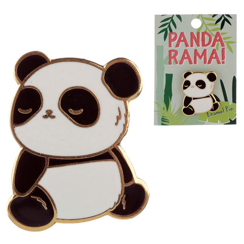 panda black and white pandas  gold metal enamel pin brooch badge uk gift gifts cute kawaii pins
