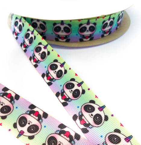 pandicorn panda unicorn 25mm wide grosgrain ribbon one yard