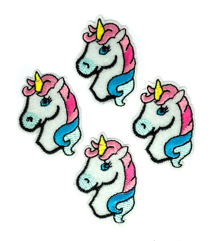 pink blue and white unicorn head iron on patch applique unicorns 45mm