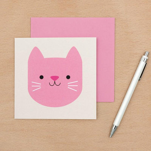 kawaii cute pink cookie cat square greetings card blank uk stationery cards animals animal