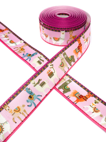 pink llama llamas alpaca alpacas 25mm grosgrain ribbon one yard