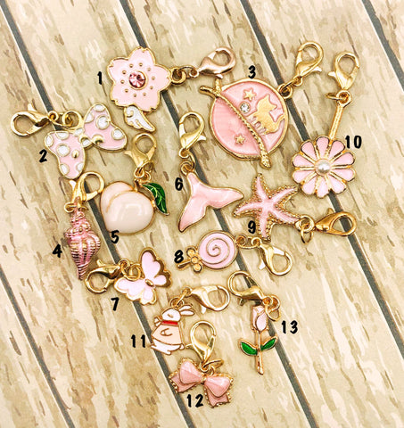 pink planner clip clips charm charms uk cute kawaii planning accessory accessories enamel enamelled gold tone metal flower cat bow rabbit rose shell